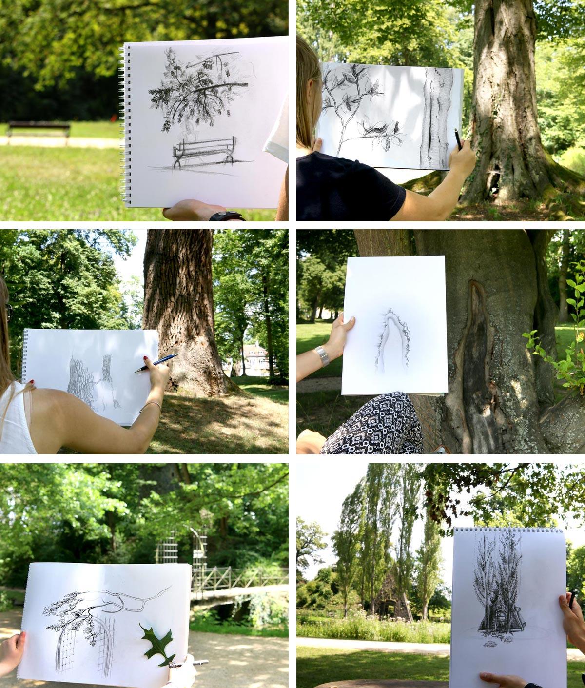 Zeichnen in der Natur - Auszubildende lernen zeichnen