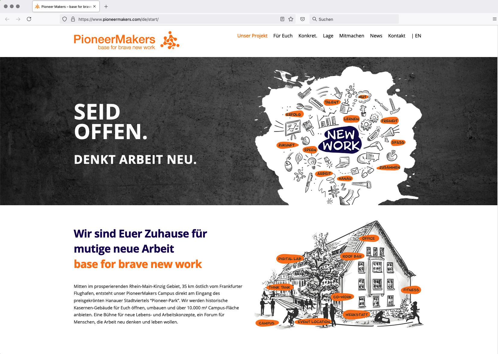 Webseite pioneermakers.com - New Work Campus in Hanau