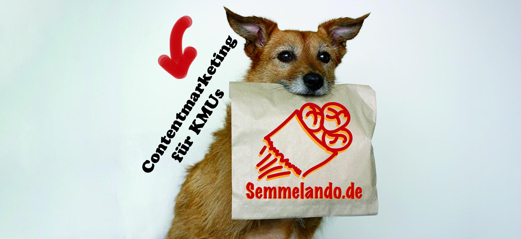 Hund mit Brötchentüte von Semmelando Contentmarketing